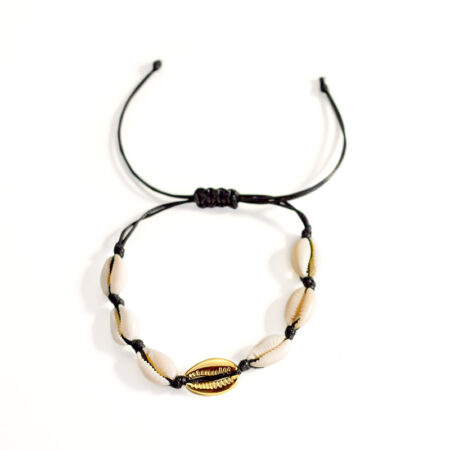 bracelet coquillage or cordon noir, shineboutique