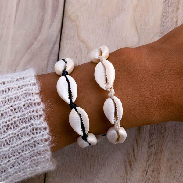 bracelet cauri cordon blanc, shineboutique