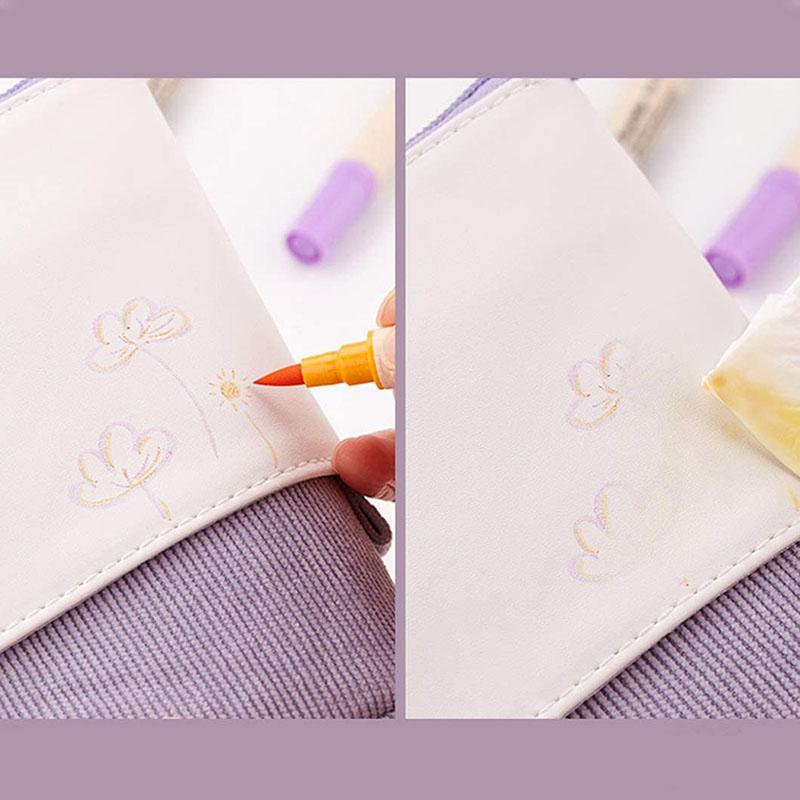 trousse pop up cuir violet