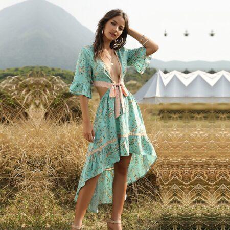 robe bohème fleurs asymétrique verte