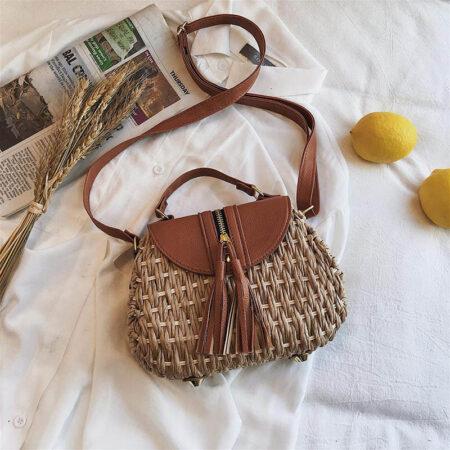 sac paille bandoulière bohème luna, shineboutique