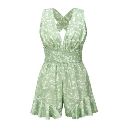 combishort bohème fleurs verte