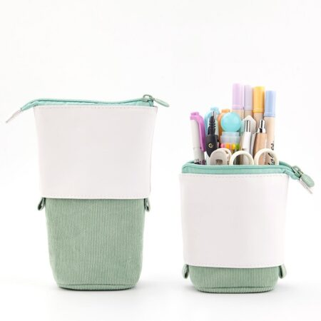 Trousse Pop-Up Cuir Verte