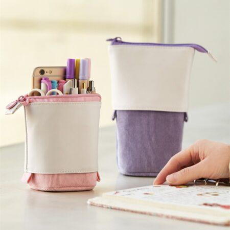 Trousse Pop-Up Cuir Violette
