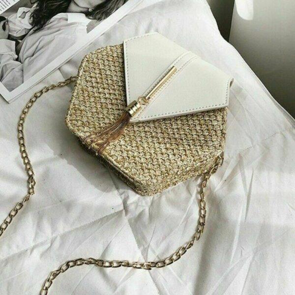 sac paille et cuir blanc kristal, shineboutique
