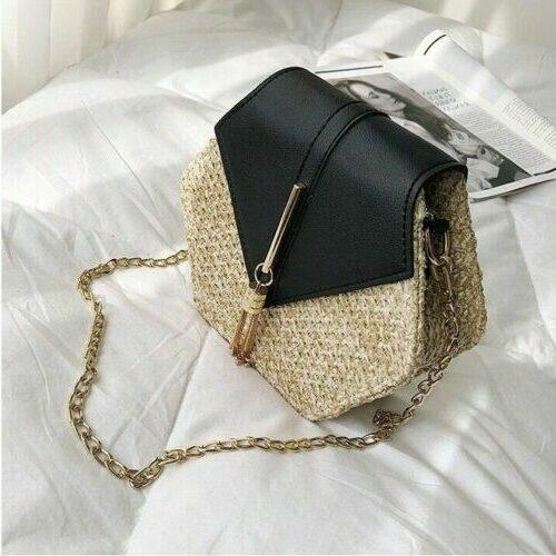 sac paille et cuir noir kristal, shineboutiquel
