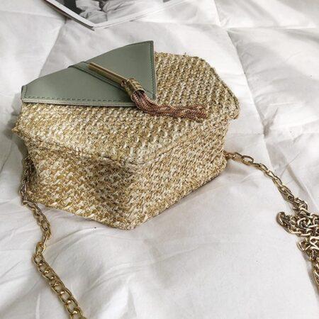 sac paille et cuir vert kristal, shineboutique