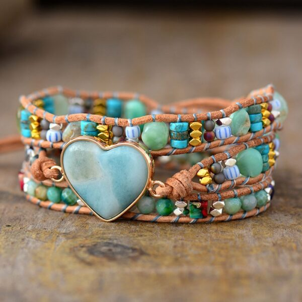bracelet enroulé amazonite cœur