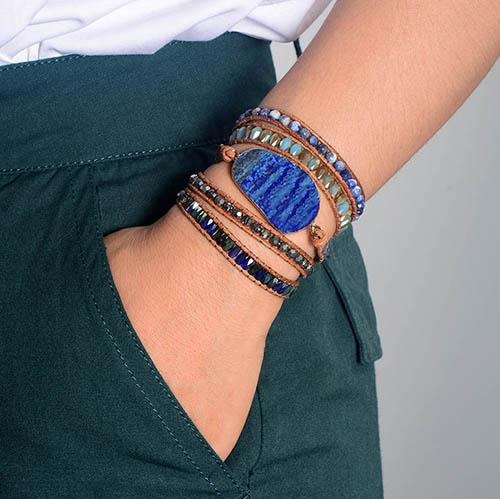 bracelet pierre wrap lapis lazuli