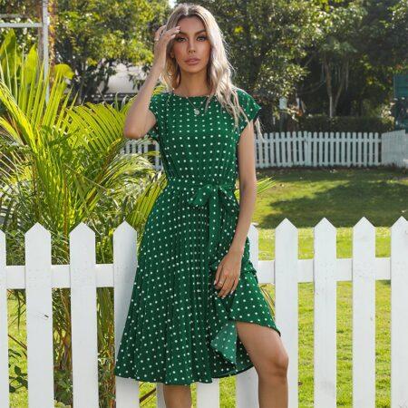 robe bohème pois verte