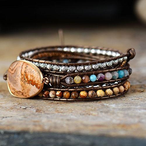 bracelet pierre wrap jaspe paysage
