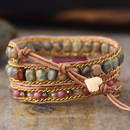 Bracelet Manchette Rhodonite cœur
