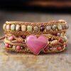 Bracelet enroulé Rhodonite cœur