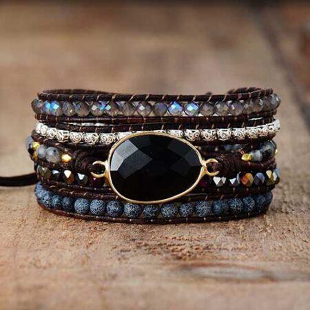 bracelet enroulé onyx noir