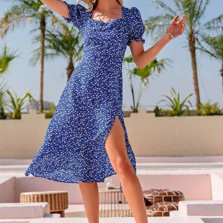 robe bohème longue fleurs bleu