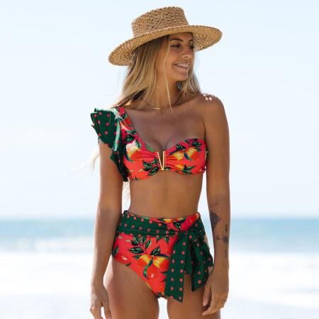 maillot 2 pièces tropical asymétrique isae