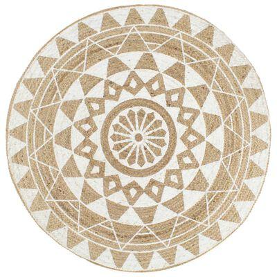 tapis rond mandala blanc