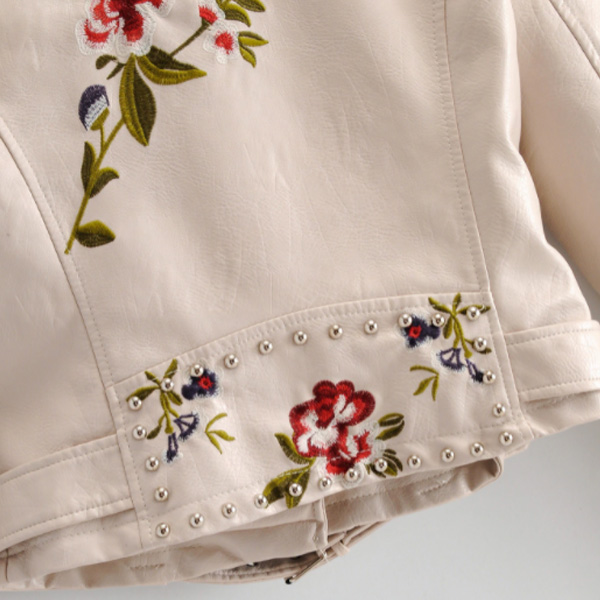 Veste Cuir Blanche Fleurs Bohème
