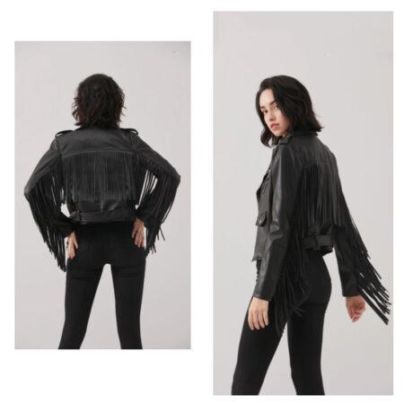 veste cuir frange bohème