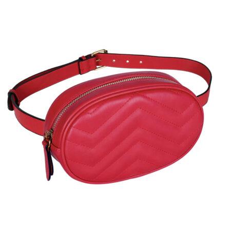 sac ceinture matelasse losange rouge jane